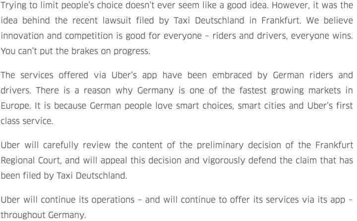 """""""Keep calm and Uber On"""" - Comunicado oficial de Uber"""