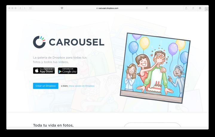 Carousel, la opción de Dropbox para el almacenamiento de fotos