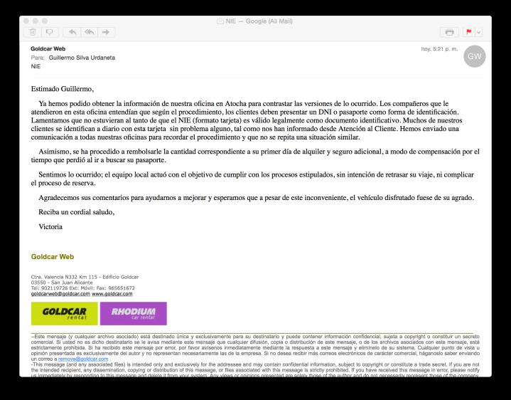 Última comunicación de Goldcar sobre el tema de mi alquiler